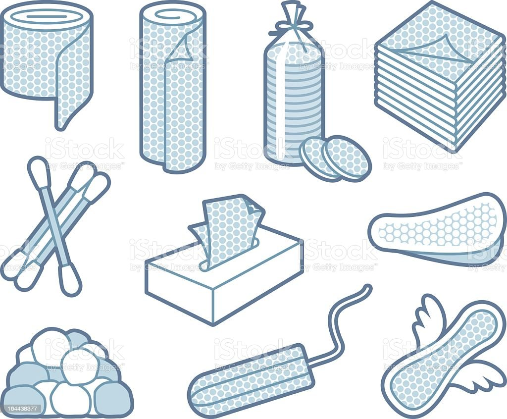 Selection of gray shaded hygiene icons on white background vector art illustration
