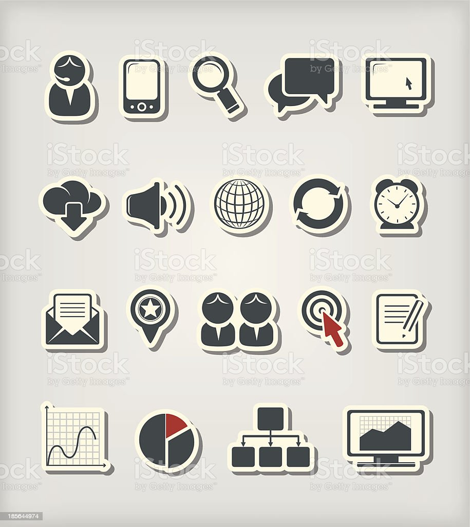 A selection of icons representing business and the media royalty-free stock vector art