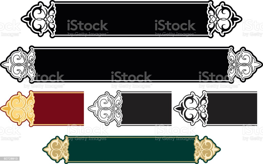 A selection of illustrated decorative panels royalty-free stock vector art