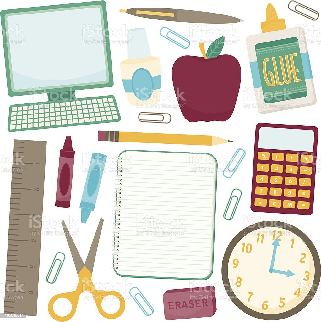 A selection of school and study icons royalty-free stock vector art