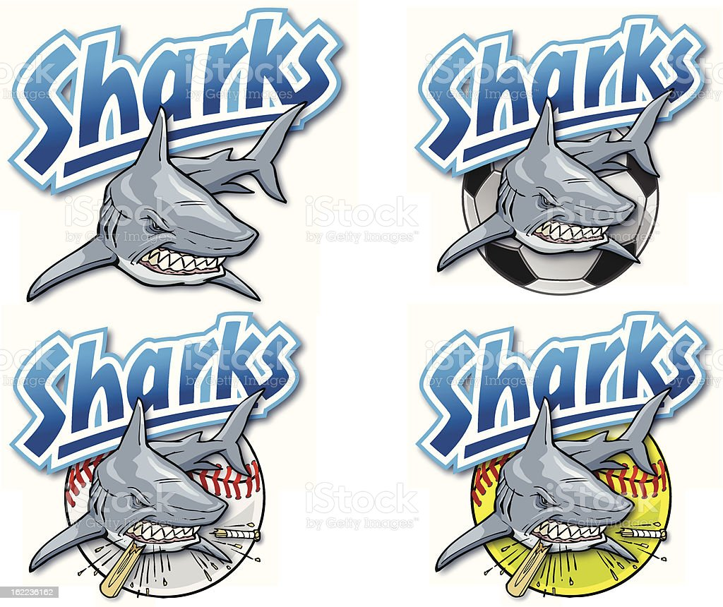 A selection of shark images labelled sharks vector art illustration