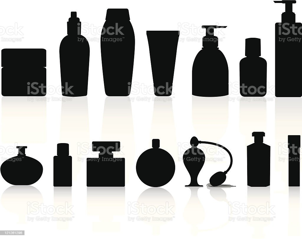 selection of silhouettes including perfume and lotion bottles vector art illustration