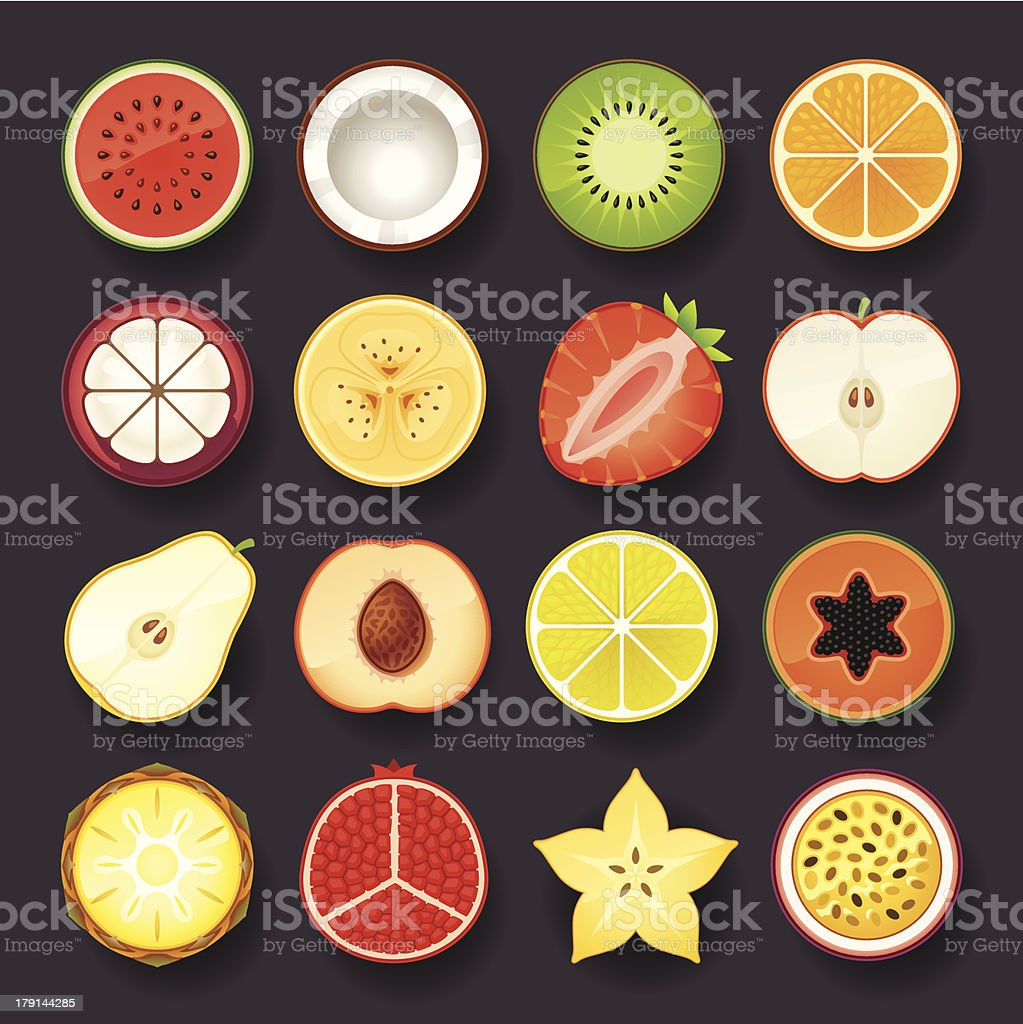 Selection of sixteen fruit intersection icons royalty-free stock vector art