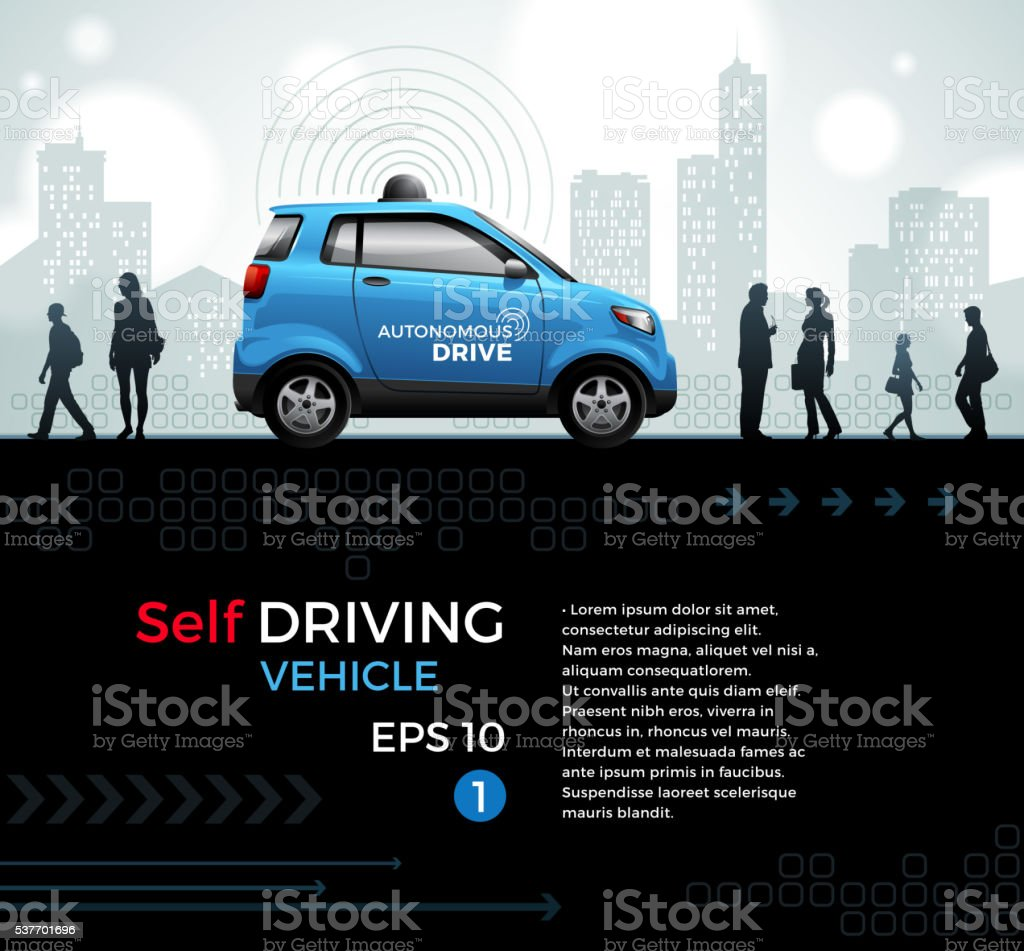 Self Driving Car in the City vector art illustration