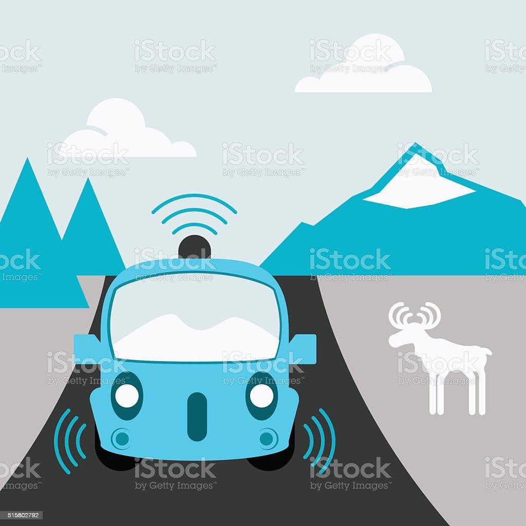 Self Driving Car on a Rural Road Flat Design vector art illustration
