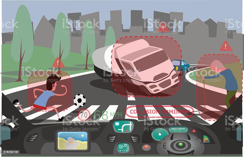 Self Driving Dangers vector art illustration