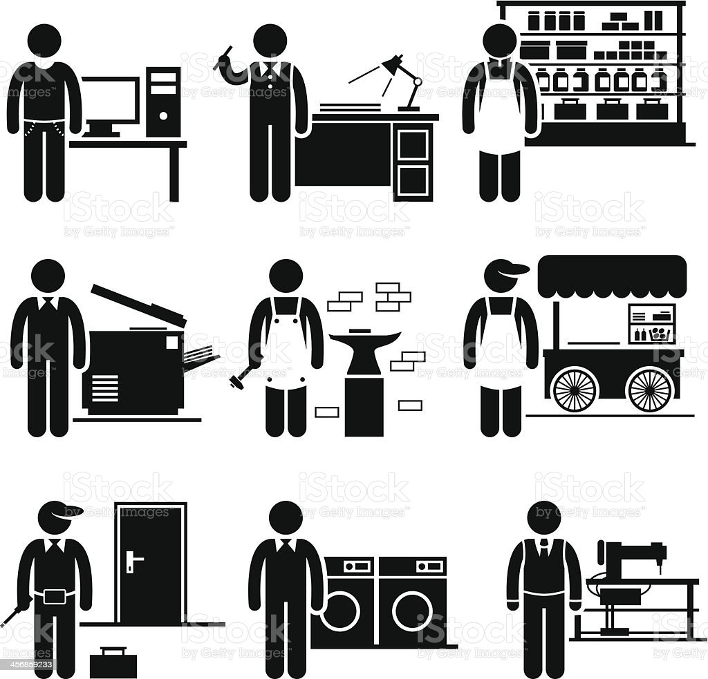 Self Employed Small Business Jobs Occupations Careers vector art illustration