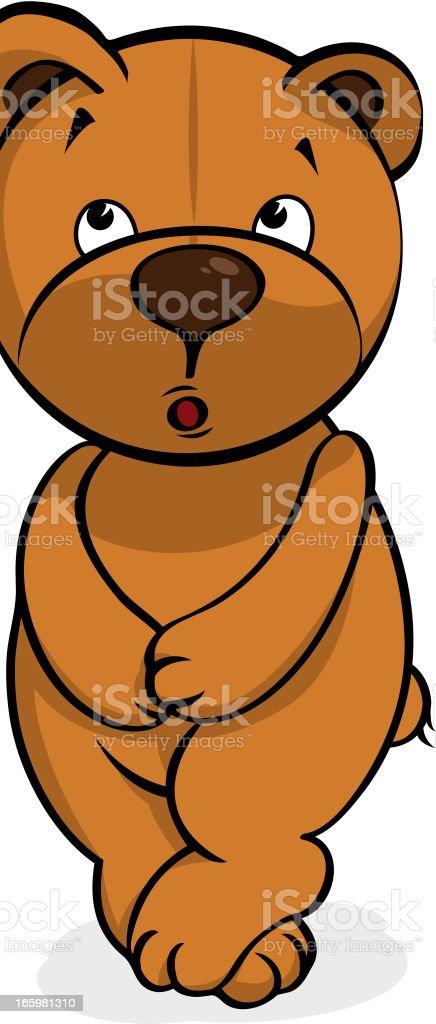 self-conscious plush bear royalty-free stock vector art