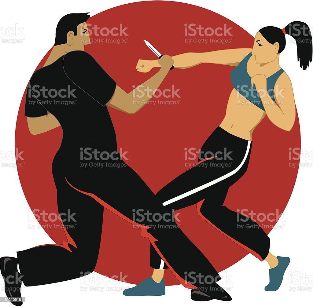 Self-defense for women vector art illustration