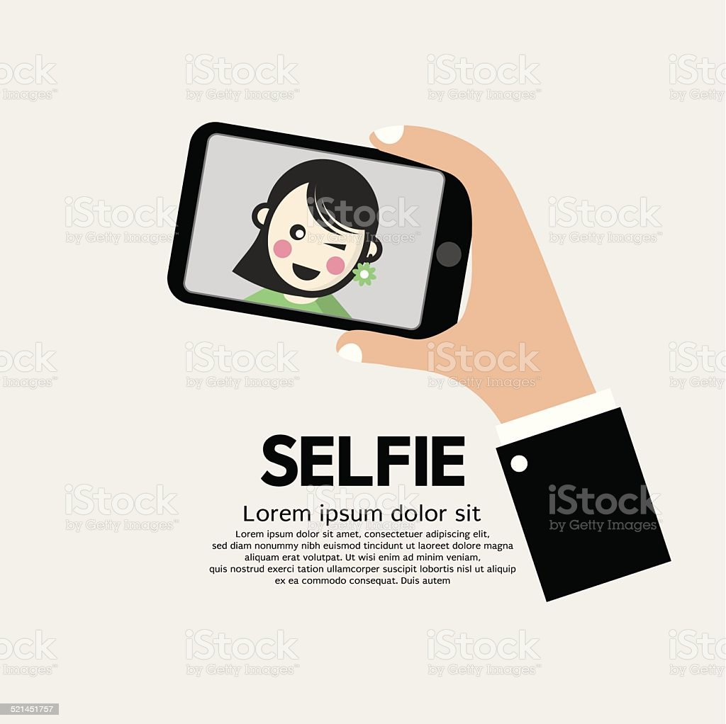 Selfie By Phone Lifestyle With Technology Vector Illustration vector art illustration