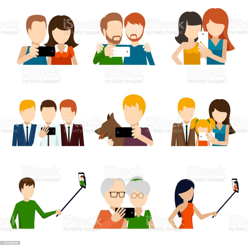 Selfie icons set in flat design style vector art illustration