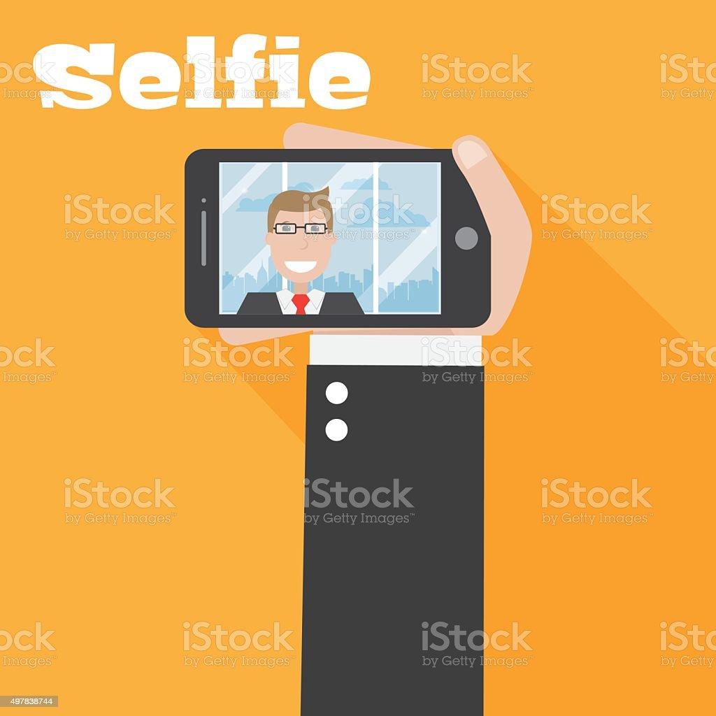 Selfie on phone vector art illustration