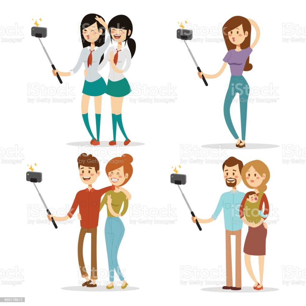 Selfie people isolated vector illustration character photo lifestyle set hipster smart flat camera smartphone person picture vector art illustration