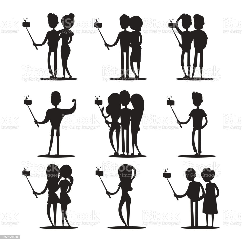 Selfie people isolated vector illustration character photo lifestyle set hipster smart flat camera smartphone person picture black and white vector art illustration