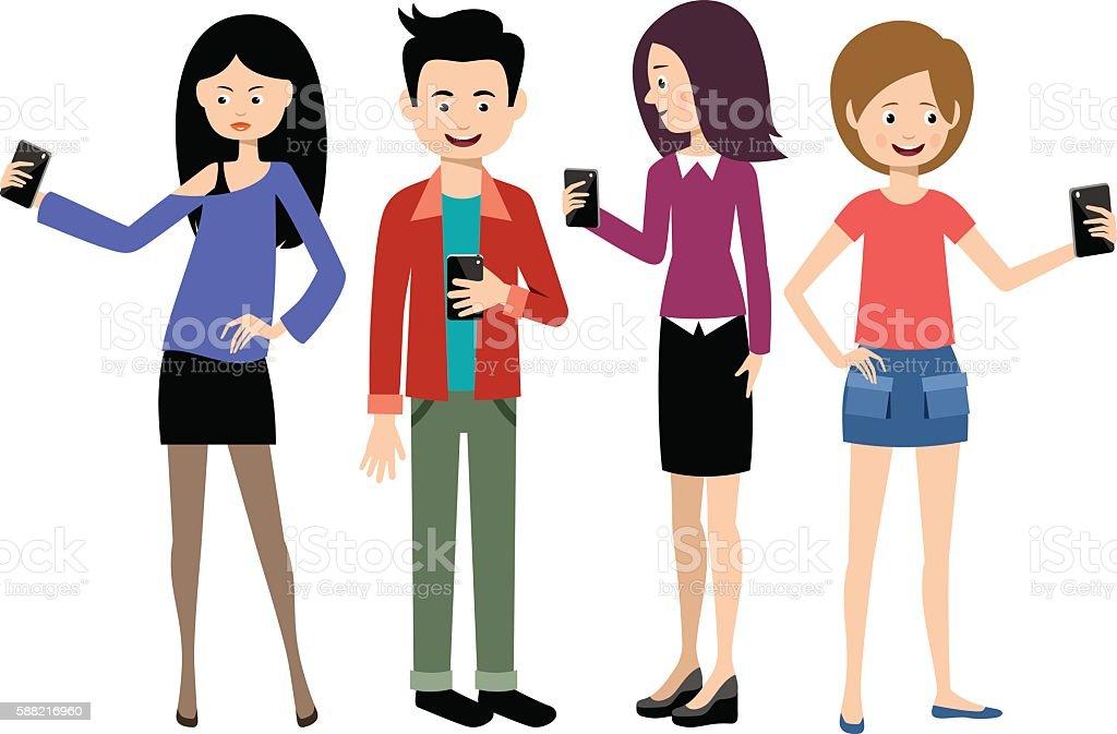 Selfie people set vector art illustration