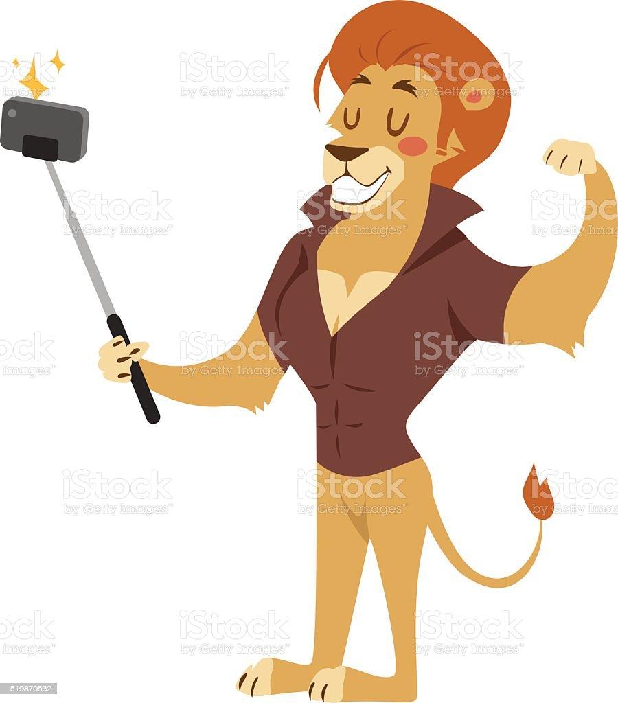 Selfie photo shot lion young power strong man illustration on vector art illustration