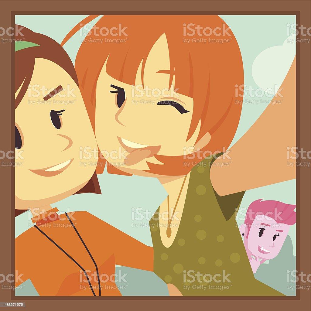 Selfie Photobomb vector art illustration