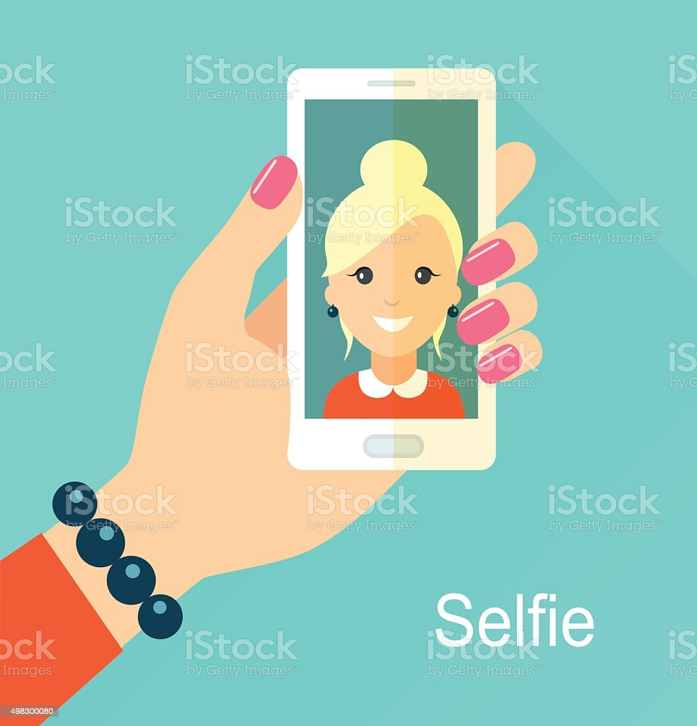 Selfie poster with woman holding smartphone vector illustration. vector art illustration