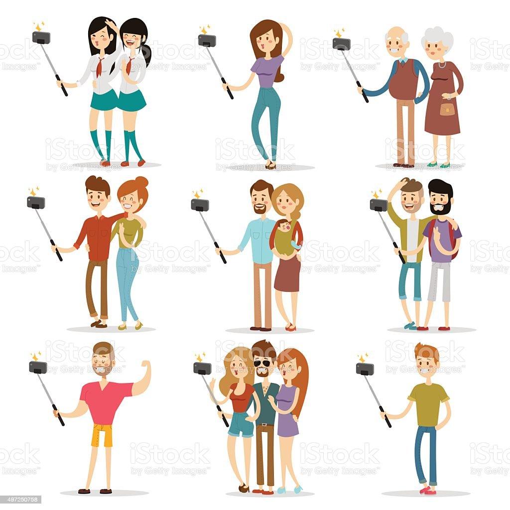 Selfie shots family and couples vector illustration vector art illustration