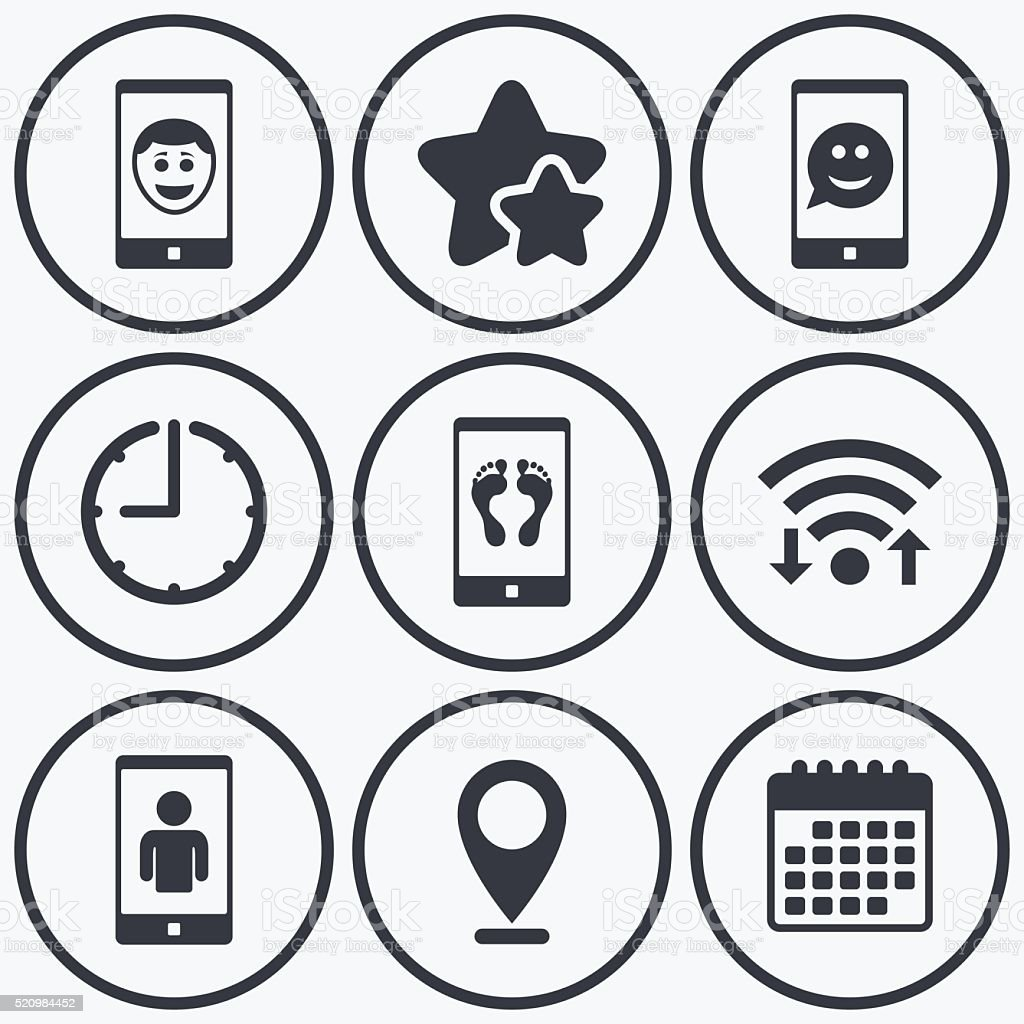 Selfie smile face icon. Smartphone video call. vector art illustration