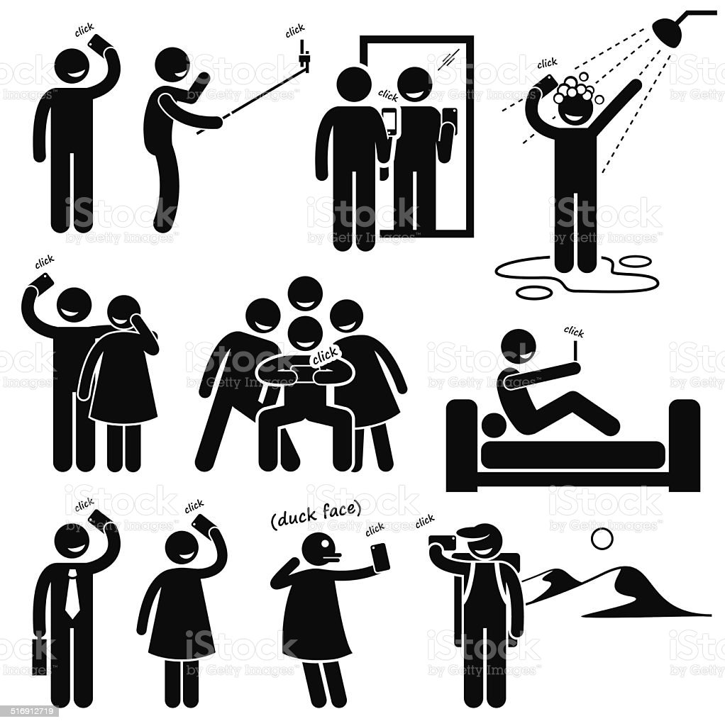 selfie stick figure pictogram icons stock vector art 516912719 istock. Black Bedroom Furniture Sets. Home Design Ideas