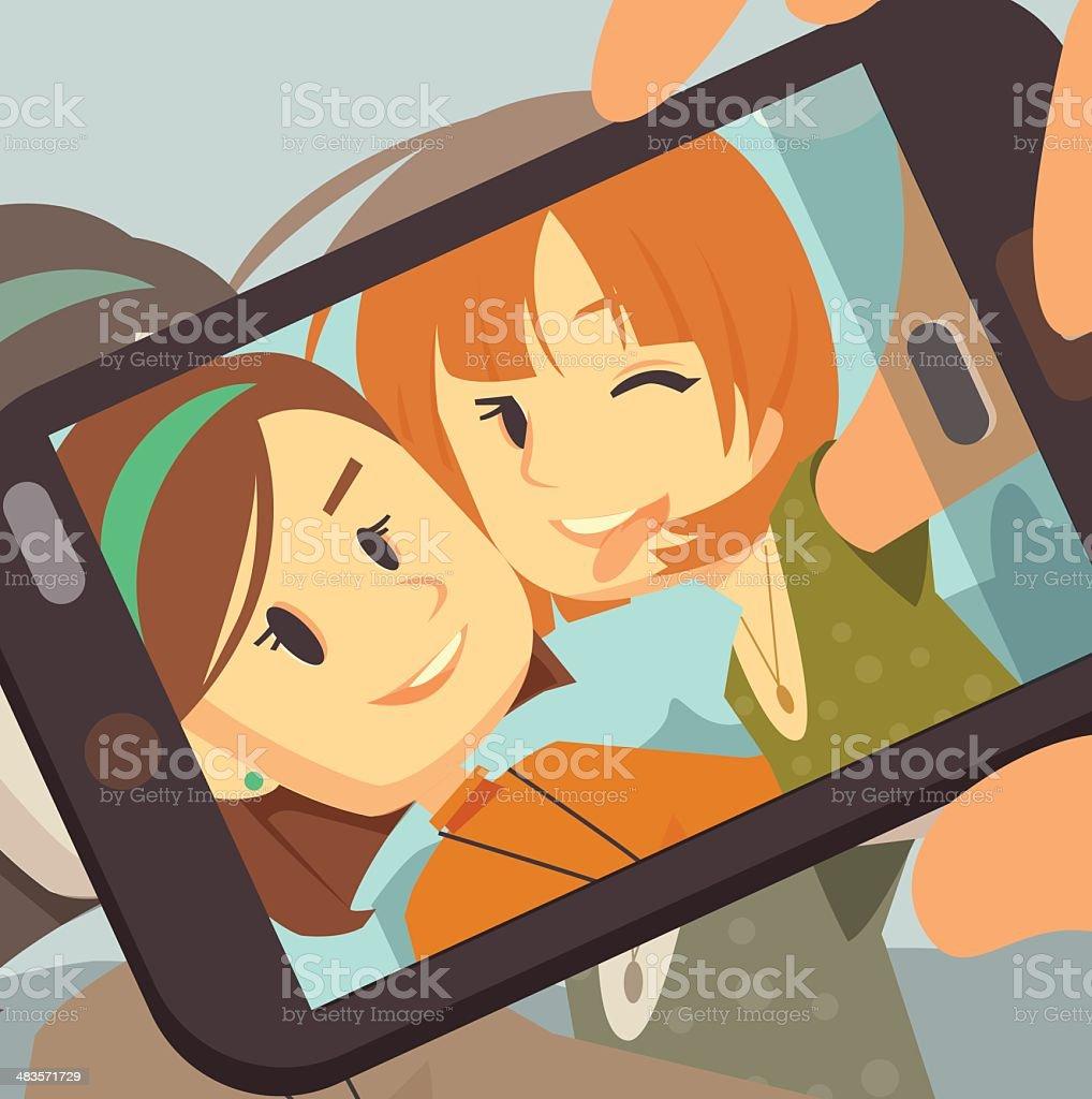 BFF Selfie vector art illustration
