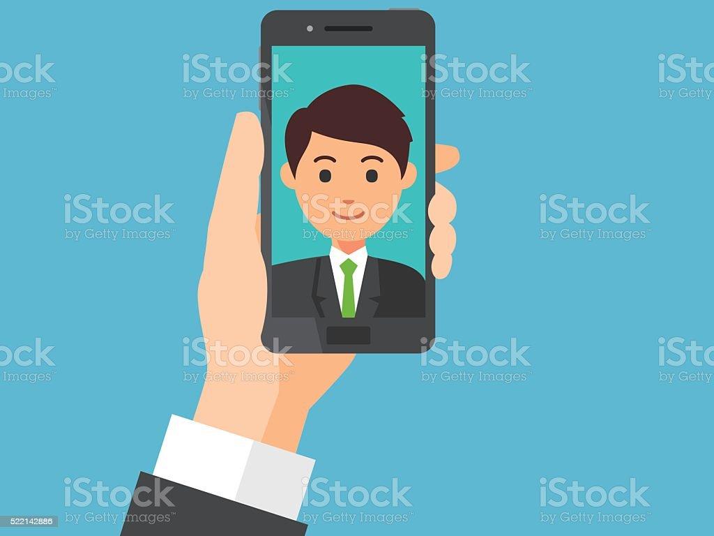 Selfie vector art illustration
