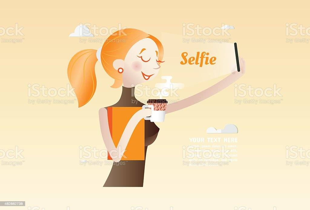 Selfie, Young Woman using Smartphone take a photo itself vector art illustration