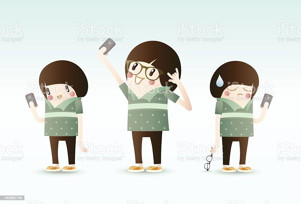 Selfie, Young Young People using Smartphone take a photo itself vector art illustration