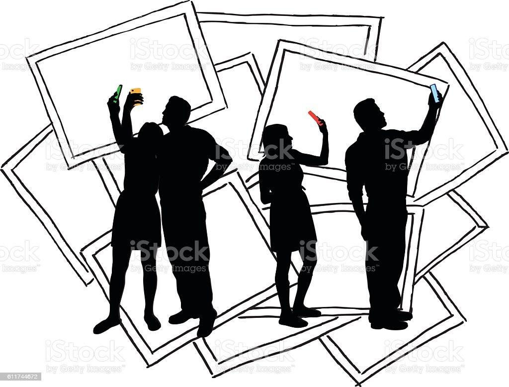 Selfies Couple Vector Silhouette vector art illustration