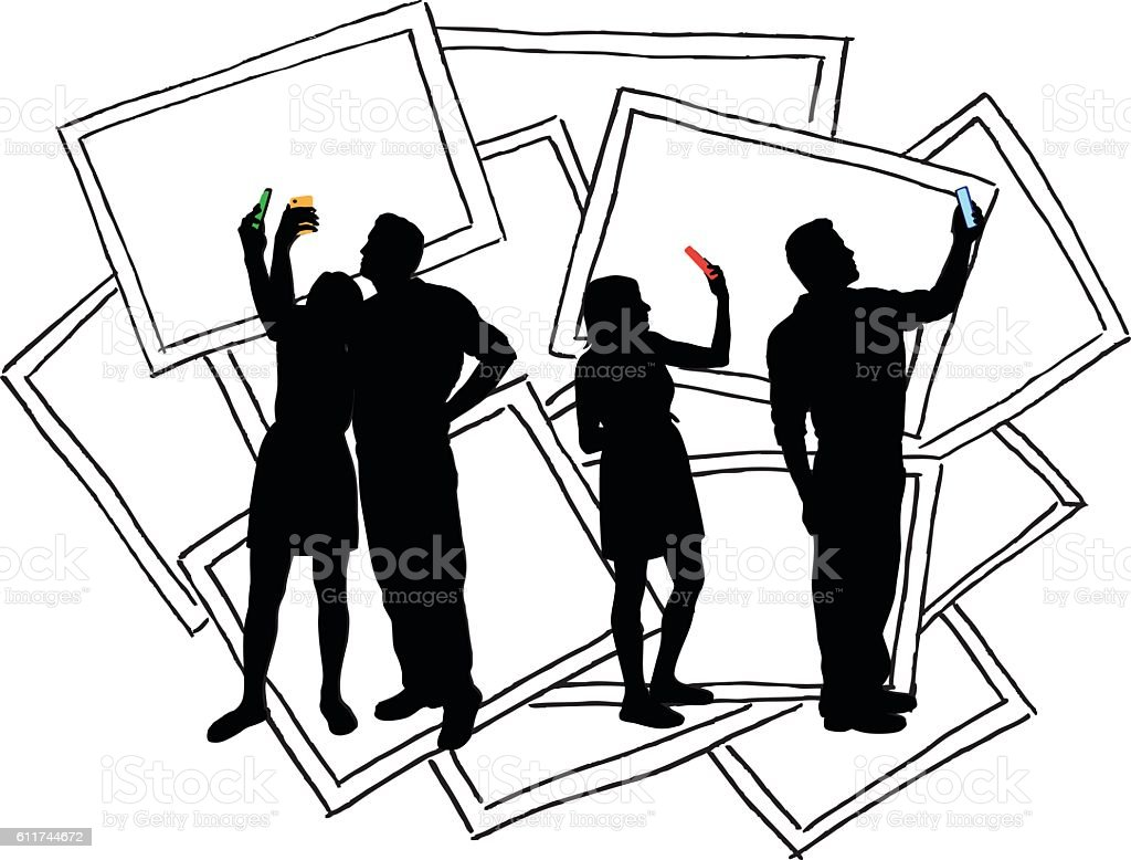Selfies Couple Vector Silhouette vector art illustration
