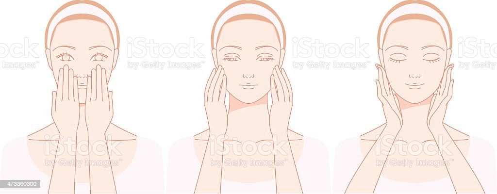 Self-massage of the face vector art illustration