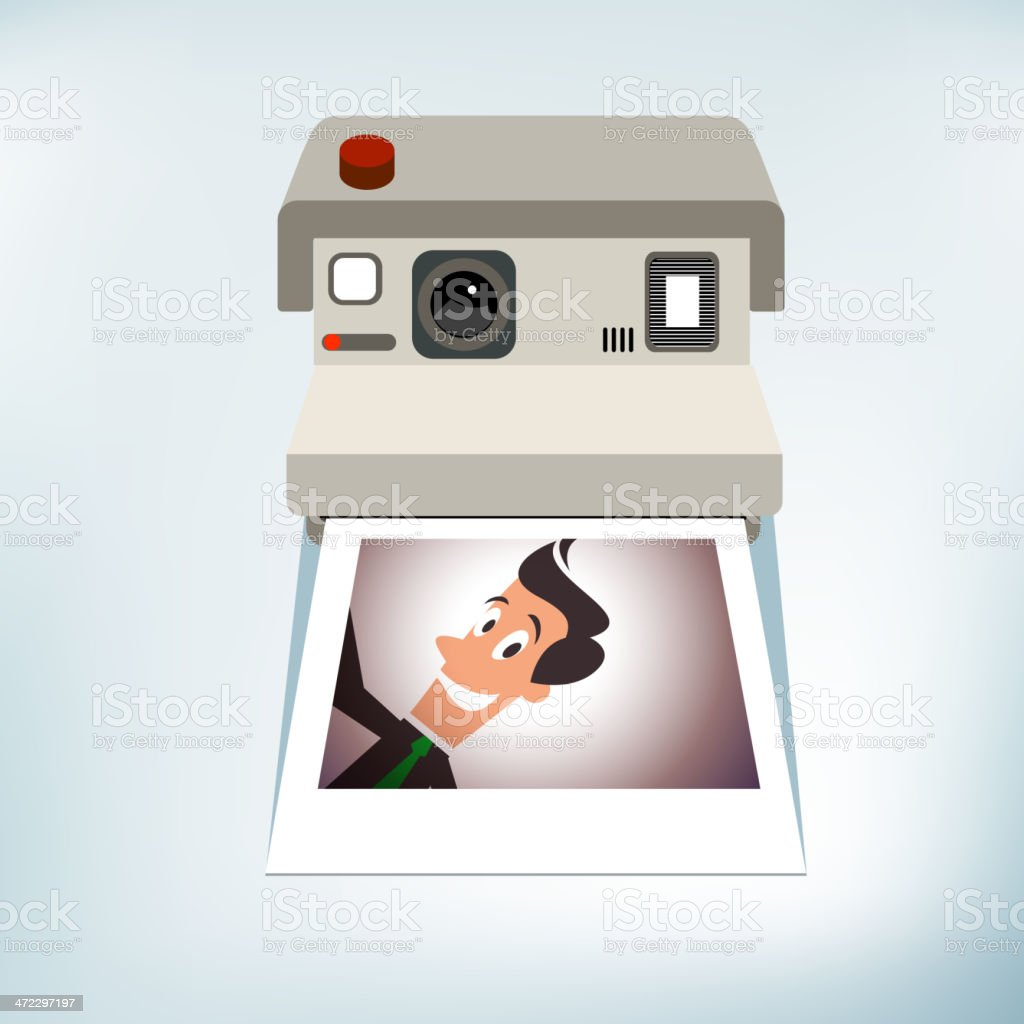 Self-Portrait on Instant Camera royalty-free stock vector art