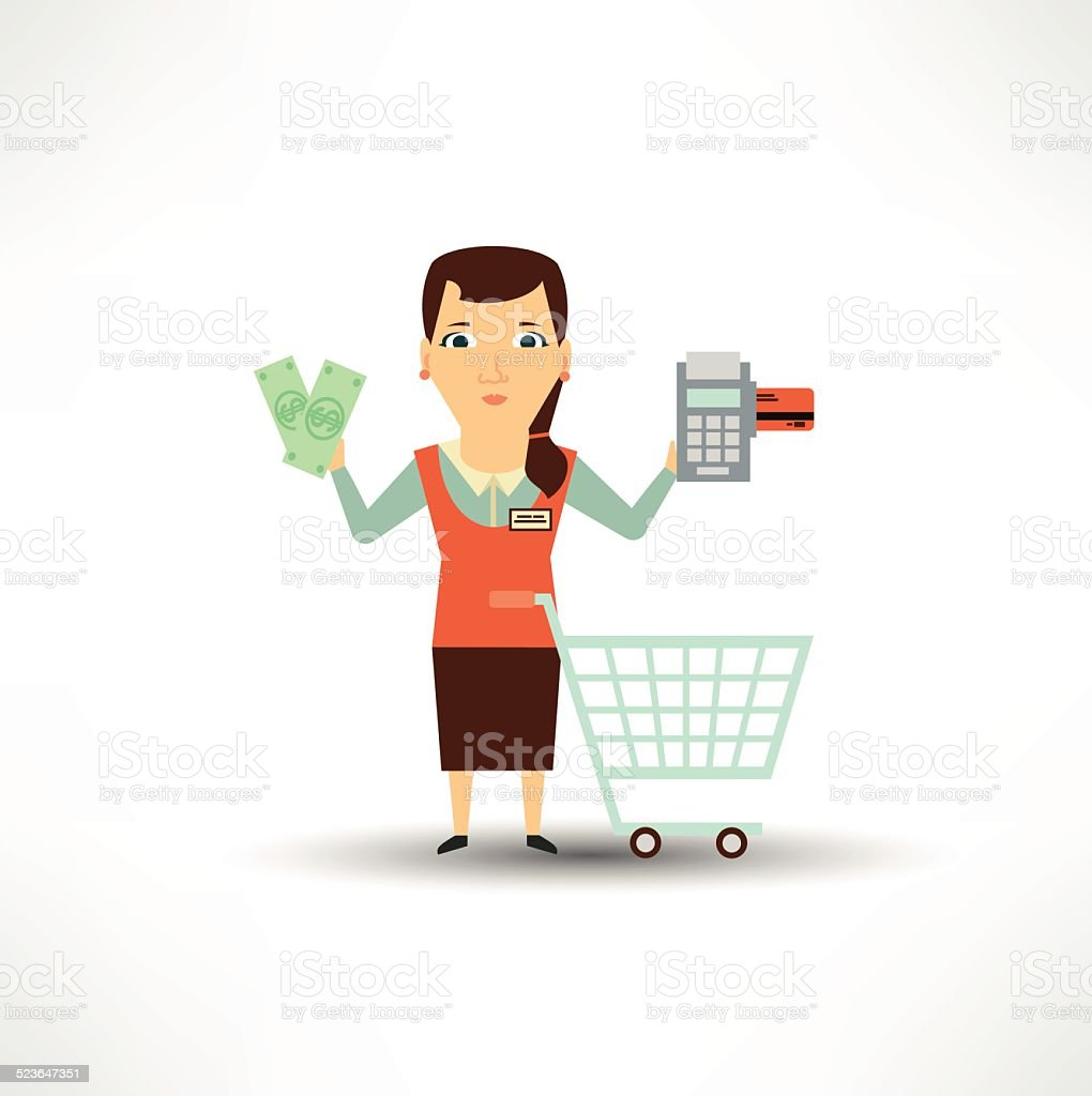 seller offers to pay in cash or card vector art illustration