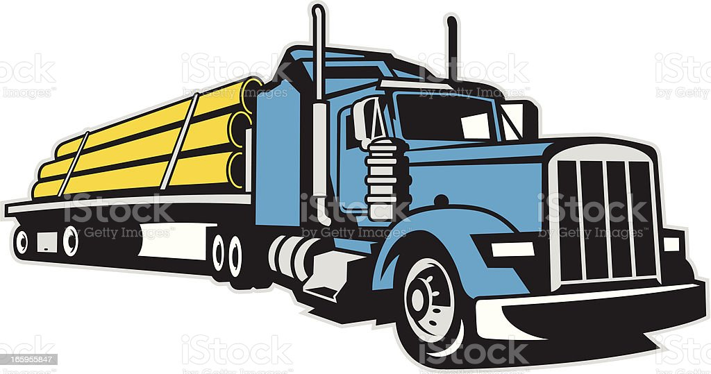 Semi Truck and Trailer hauling a full load of pipes vector art illustration