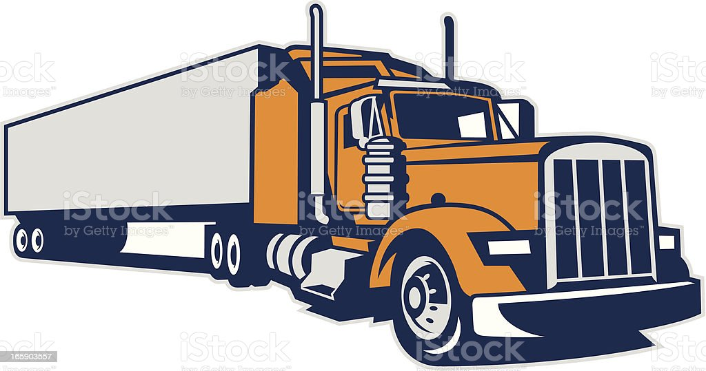 Semi Truck and Trailer royalty-free stock vector art
