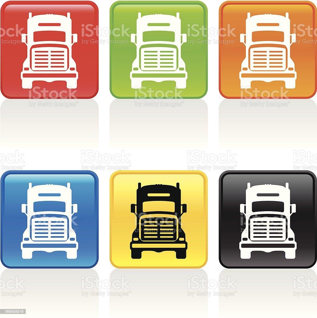 Semi Truck Icon - Front View vector art illustration