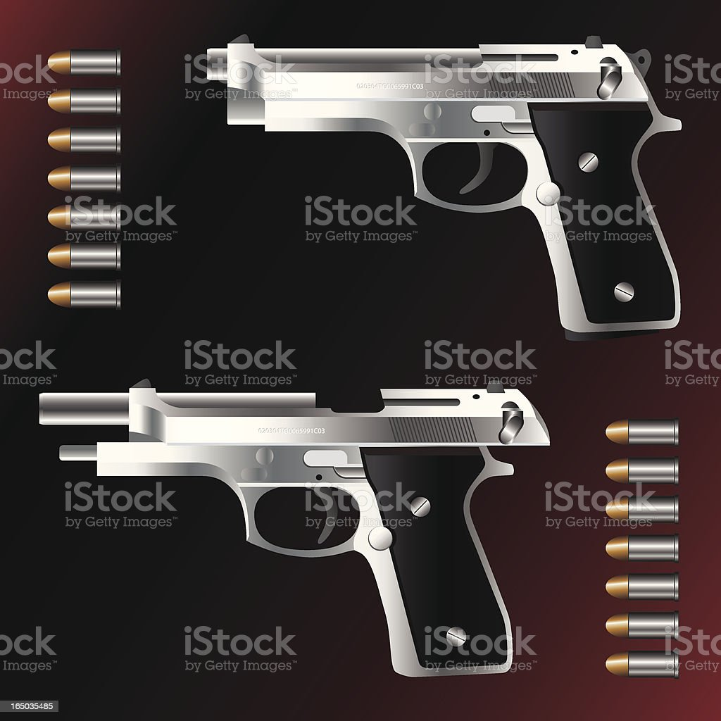 Semi-Automatic Hand Gun with Bullets vector art illustration
