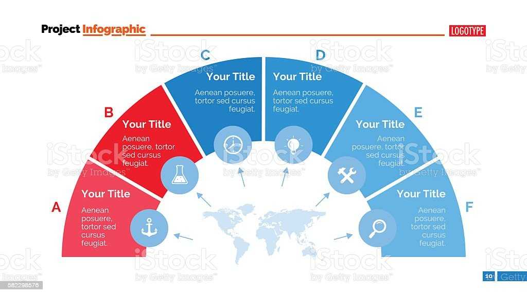 Semicircle Diagram Slide Template vector art illustration