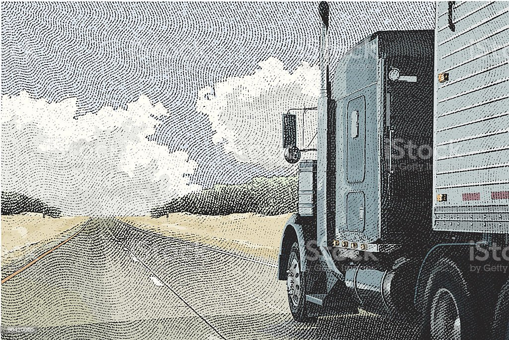 Semi-Truck on the Open Road vector art illustration
