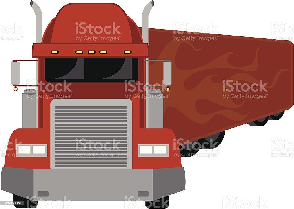 semitruck red vector art illustration