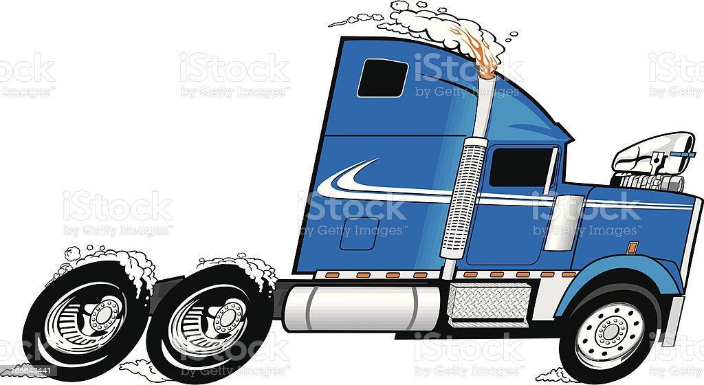 semitruckblue vector art illustration