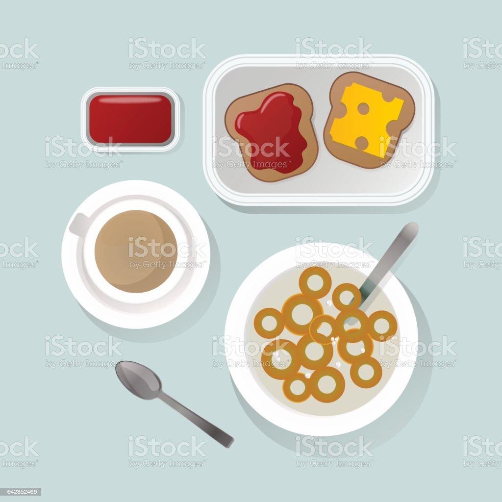 Semolina porridge breakfast top view vector illustration vector art illustration