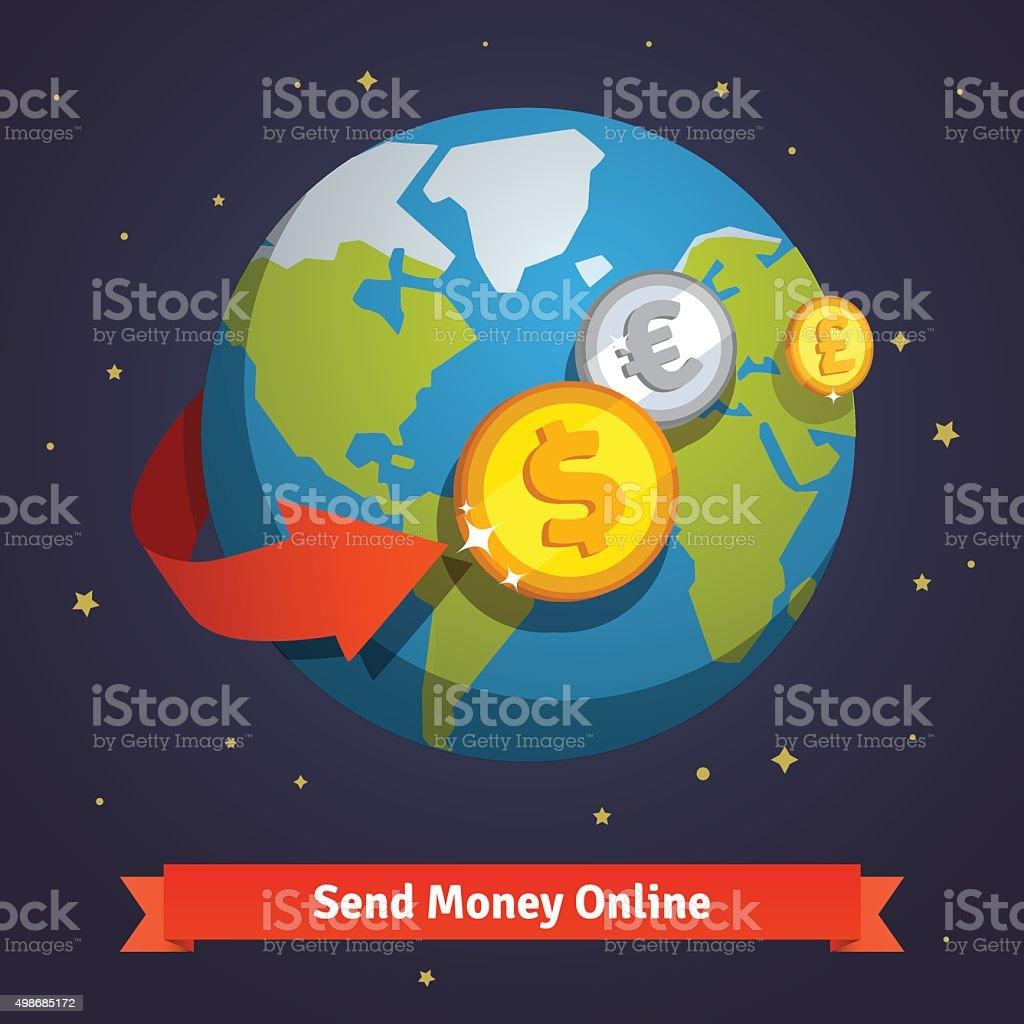 Send money online concept vector art illustration