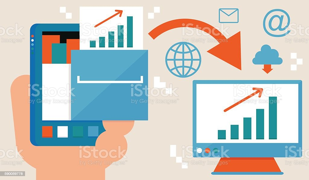 Sending a File with Smartphone vector art illustration