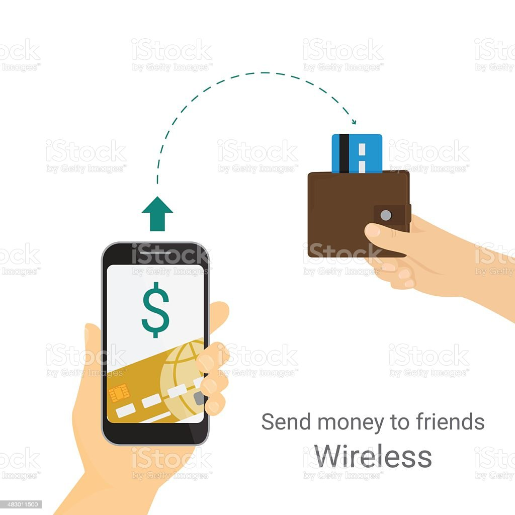 Sending money via mobile phone vector art illustration