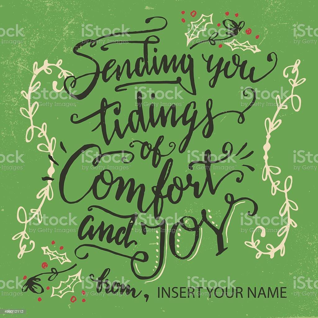 Sending you tidings of comfort and joy vector art illustration