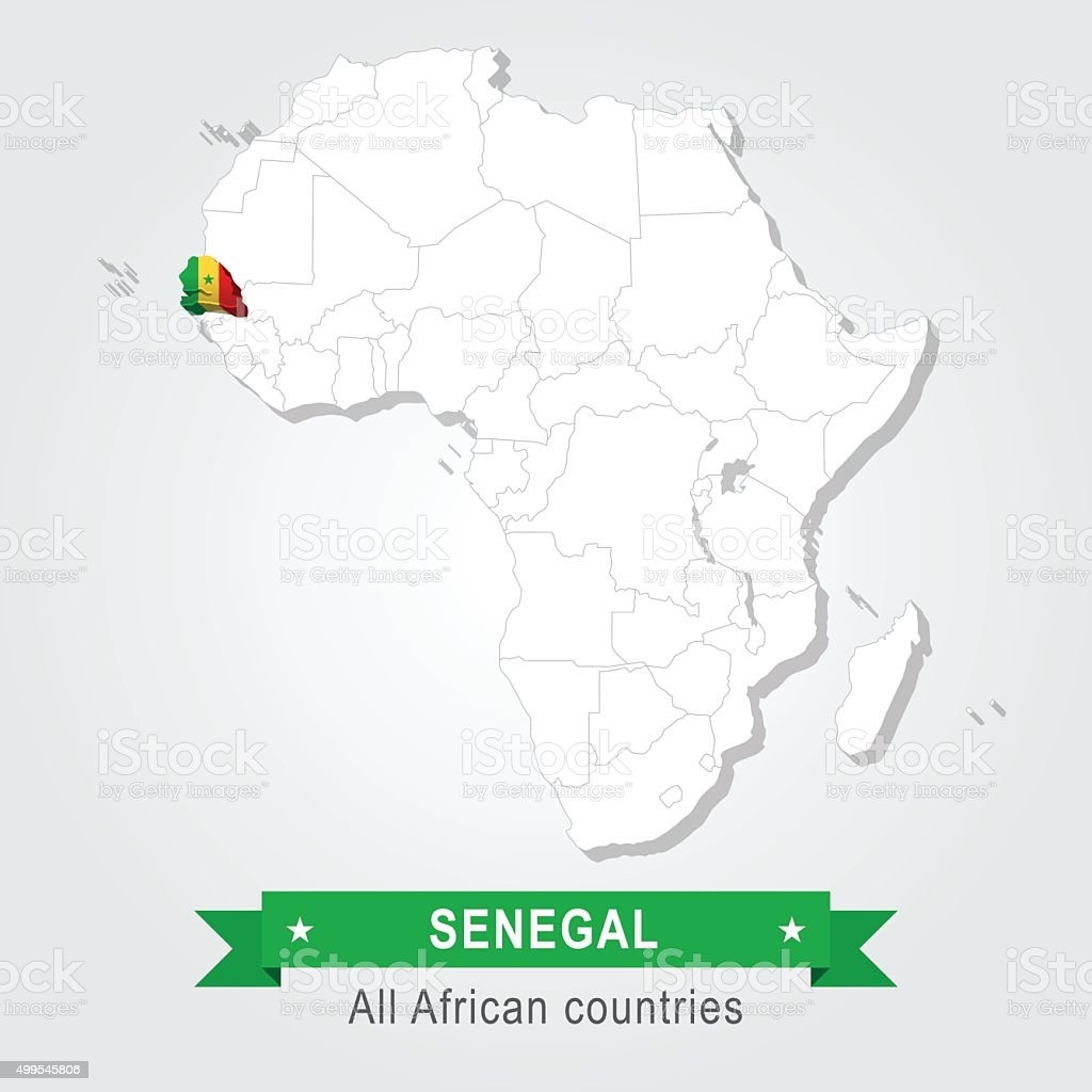 Senegal. All the countries of Africa. Flag version. vector art illustration