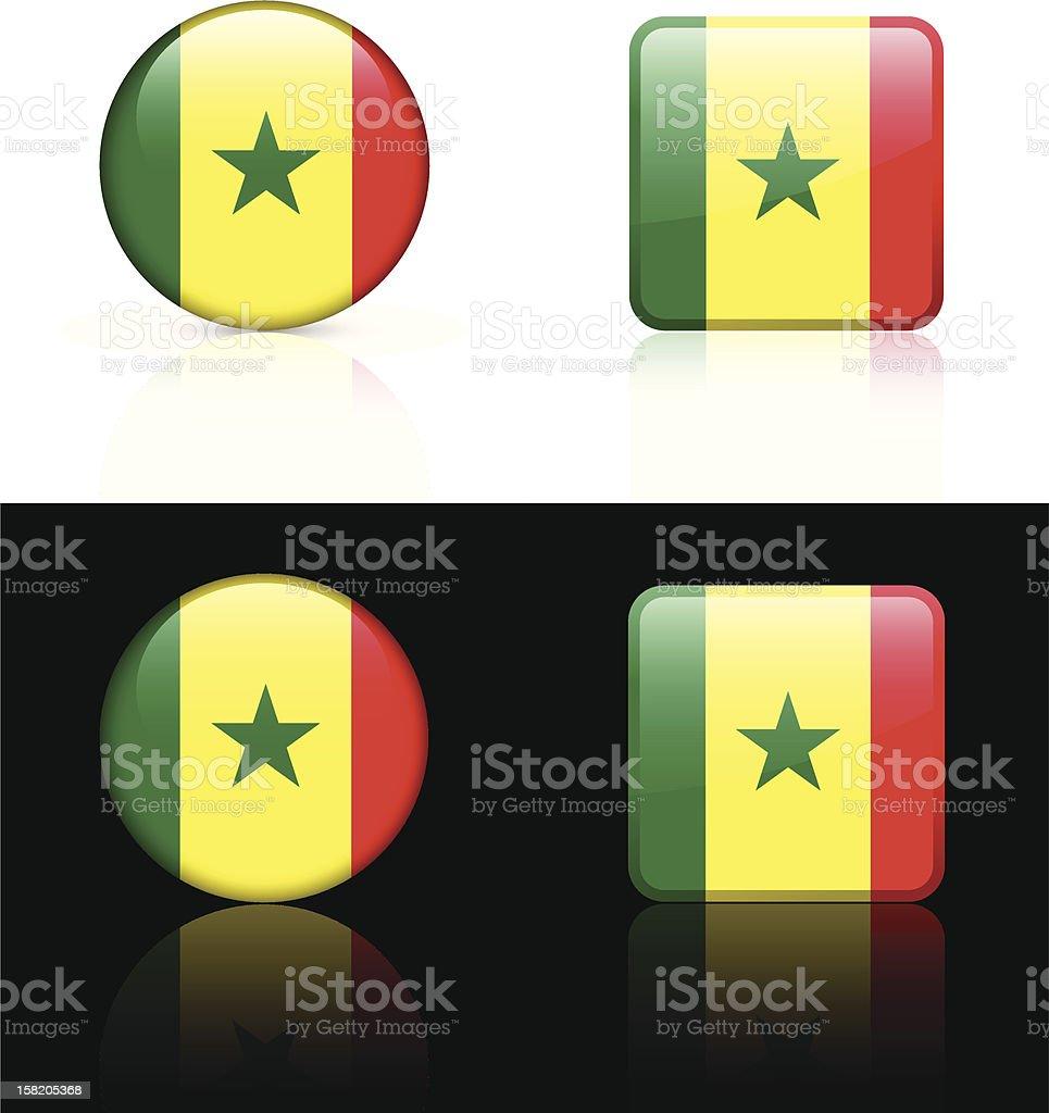 Senegal Flag Button Set royalty-free stock vector art