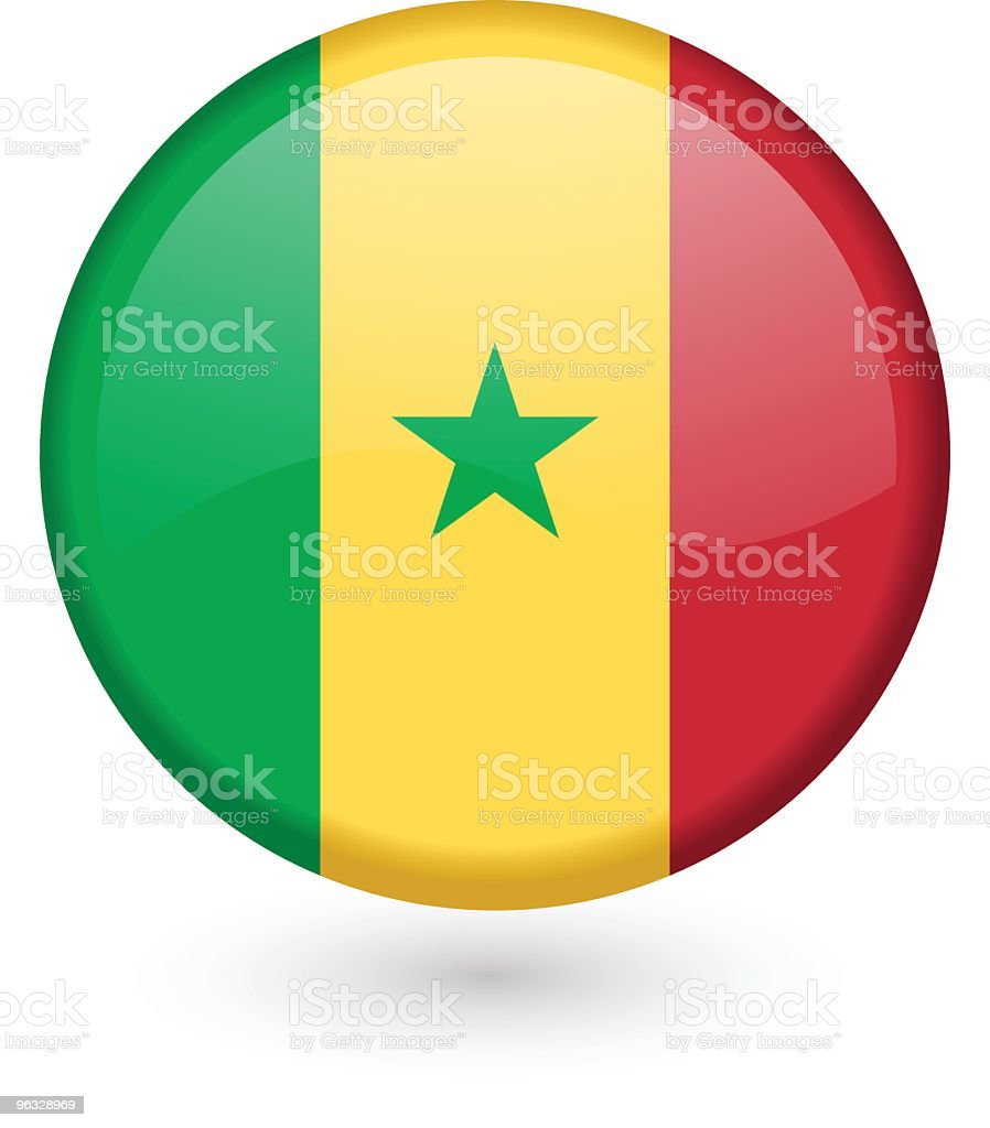 Senegal flag vector button vector art illustration